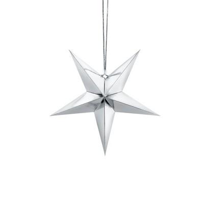 DEKORACJA świąteczna Gwiazda papierowa SREBRNA 30cm