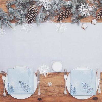 BIEŻNIK świąteczny flizelinowy obrus 40cmx10m SREBRNY