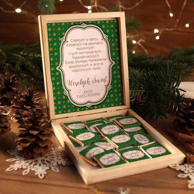 CZEKOLADKI na prezent świąteczny w pudełku TWÓJ PODPIS Zielone Święta 12 sztuk