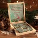 CZEKOLADKI na prezent świąteczny w pudełku TWÓJ PODPIS Zimowy Ptaszek 12 sztuk