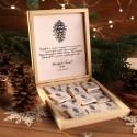 CZEKOLADKI na prezent świąteczny w pudełku TWÓJ PODPIS Szyszka 12 sztuk