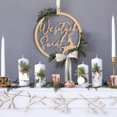 DEKORACJA świąteczna bombka drewniana z Reniferem Wesołych Świąt