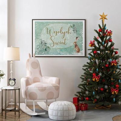 DEKORACJA świąteczna plakat Wesołych Świąt 50x70cm Wykwintne Święta