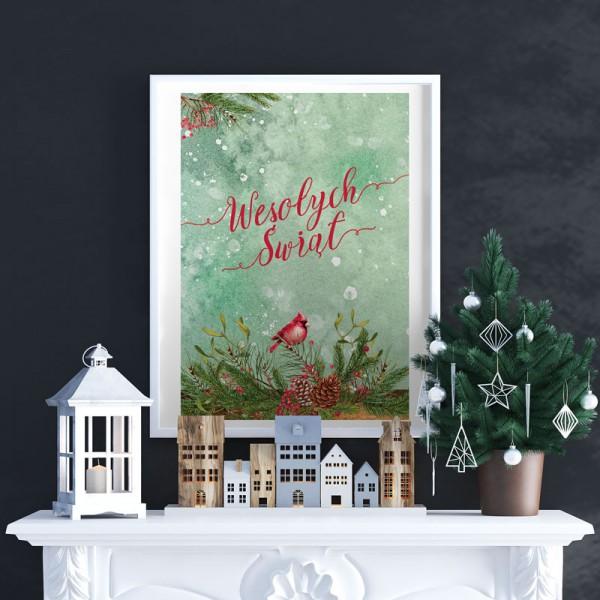DEKORACJA świąteczna plakat Wesołych Świąt 50x70cm Zimowy Ptaszek