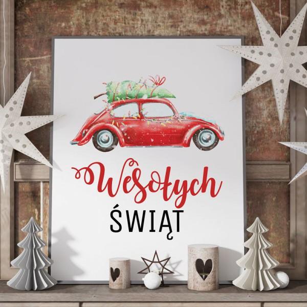 DEKORACJA świąteczna plakat Wesołych Świąt 50x70cm Christmas Car