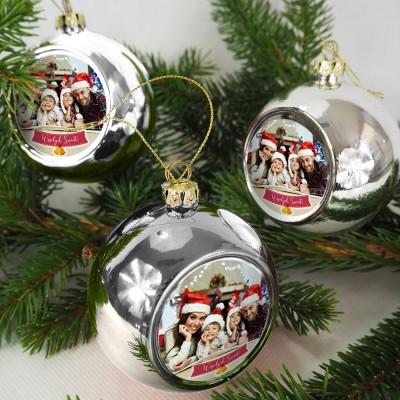 BOMBKA choinkowa ZE ZDJĘCIEM prezent Wesołych Świąt SREBRNA