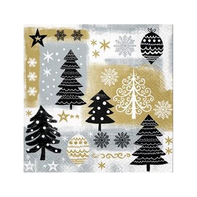 SERWETKI świąteczne Eleganckie Święta 33x33cm 20szt