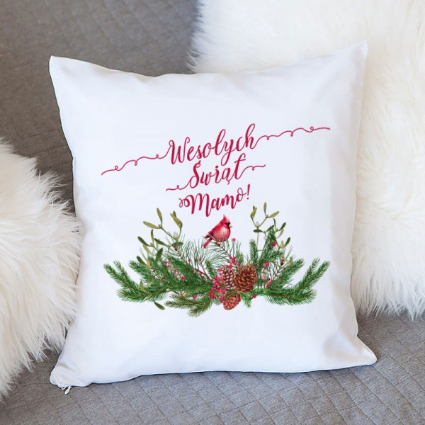 PODUSZKA na prezent świąteczny Z IMIENIEM Zimowy Ptaszek