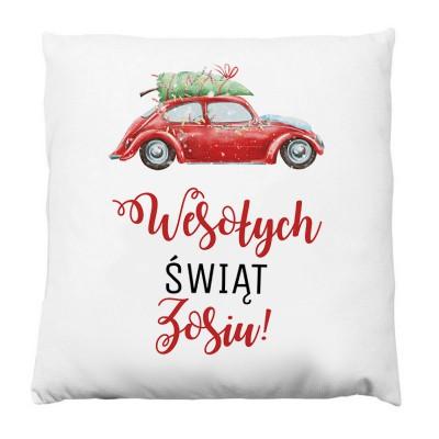 PODUSZKA na prezent świąteczny Z IMIENIEM Christmas Car