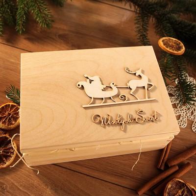 OZDOBA na wieko skrzyni na prezent świateczny Mikołaj Wesołych Świąt
