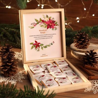 CZEKOLADKI na prezent świąteczny w pudełku TWÓJ PODPIS Świąteczne Słodkości 12 sztuk
