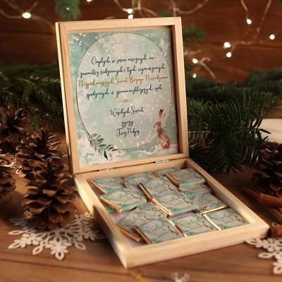 CZEKOLADKI na prezent świąteczny w pudełku TWÓJ PODPIS Wykwintne Święta 12 sztuk