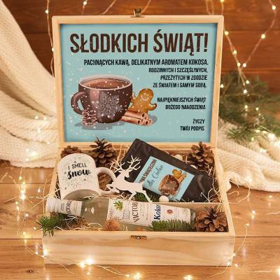 ZESTAW świąteczny w skrzyni Premium z kawą Kokosowy Z TWOIM NADRUKIEM