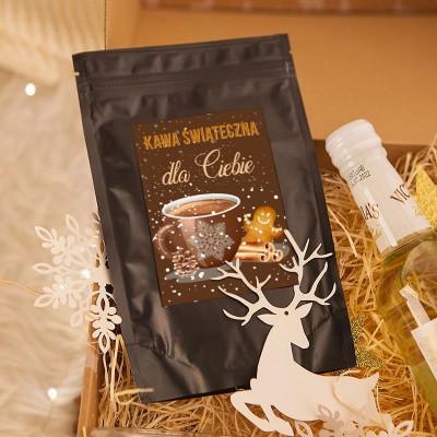 KOSZ prezentowy Z TWOIM PODPISEM Zapach Świąt z kawą i świecą