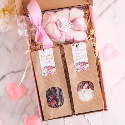 PREZENT świąteczny Box Z PODPISEM Różowy I MAŁY