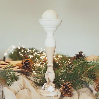 ŚWIECZNIK świąteczny w naturalnym stylu biały+brąz 37cm