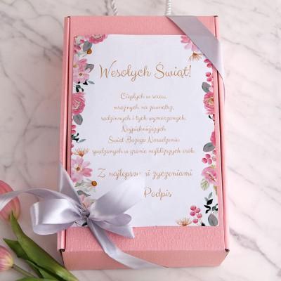 PREZENT świąteczny Box Z PODPISEM Prosecco+makaroniki mydełka LUX