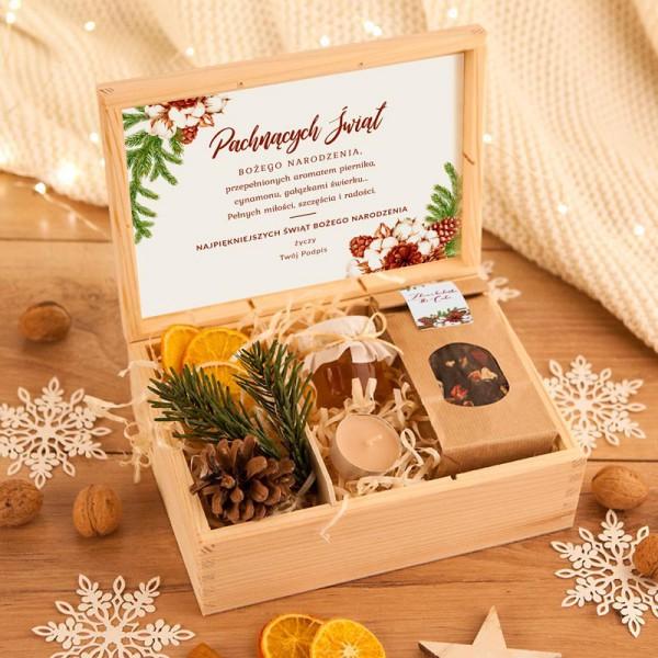 ZESTAW firmowy świąteczny w skrzyni Pachnące Święta Z LOGO