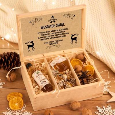 PREZENT świąteczny w skrzyni Z PODPISEM Miód+likier do kawy