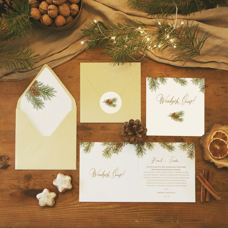 Kartka świąteczna z kopertą w komplecie