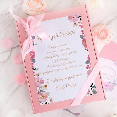 KOSZ prezentowy świąteczny Z PODPISEM różowe Prosecco i mydlane konfetti