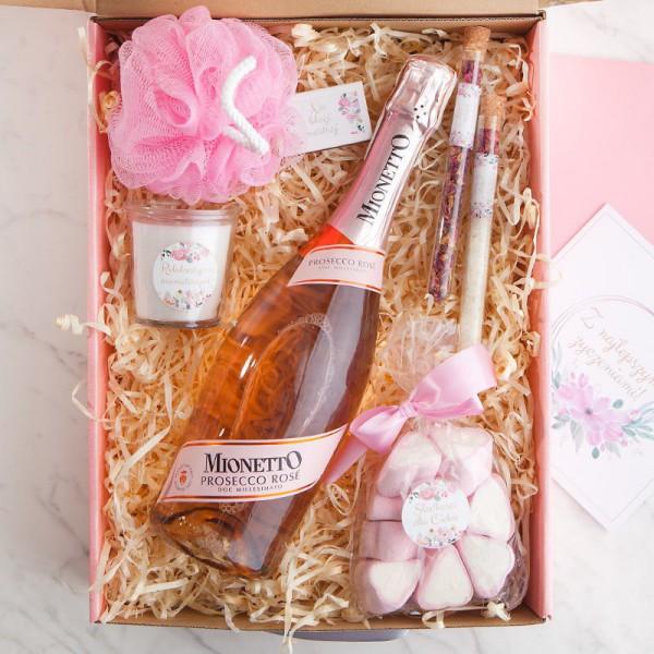 KOSZ prezentowy świąteczny Z PODPISEM różowe Prosecco Relaks LUX
