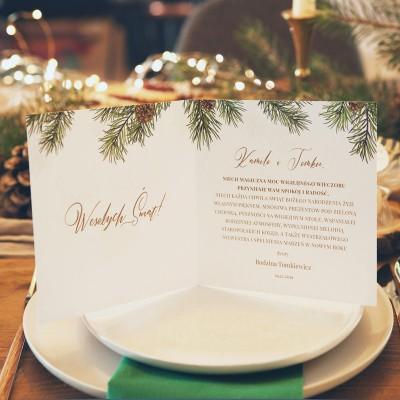 KARTKA świąteczna personalizowana Woodland (+koperta z wnętrzem+naklejka)