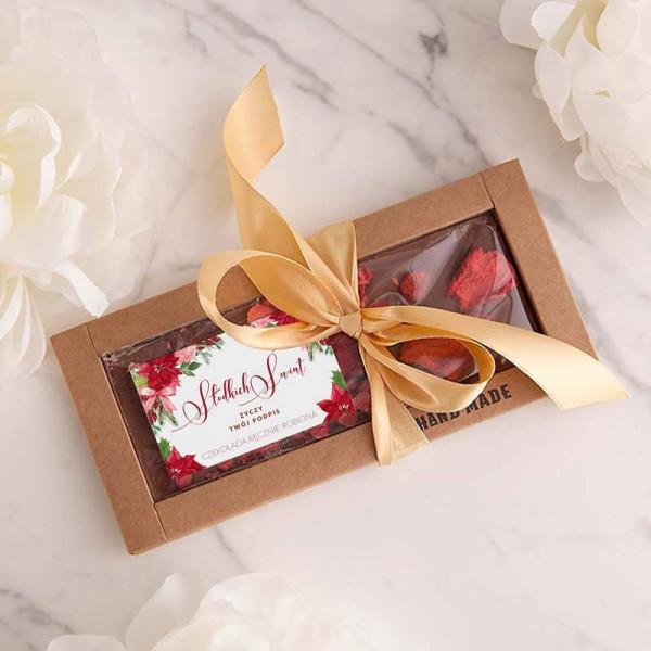 CZEKOLADA świąteczna ręcznie robiona na prezent Z PODPISEM mleczna z truskawkami