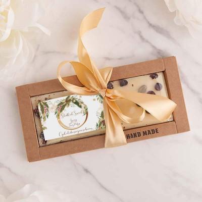 CZEKOLADA świąteczna ręcznie robiona na prezent Z PODPISEM biała z pistacją i aronią