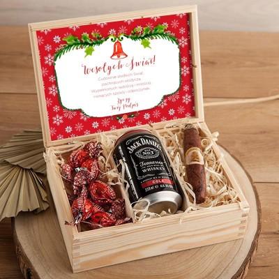 PREZENT świąteczny w skrzyni dla Faceta Z PODPISEM Whiskey z colą