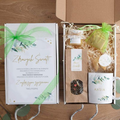 PREZENT świąteczny Z PODPISEM Eukaliptusowy BOX z kubkiem