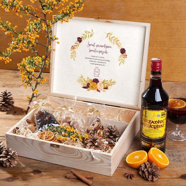 ZESTAW świąteczny w skrzyni prezent Rozgrzewający Z LOGO