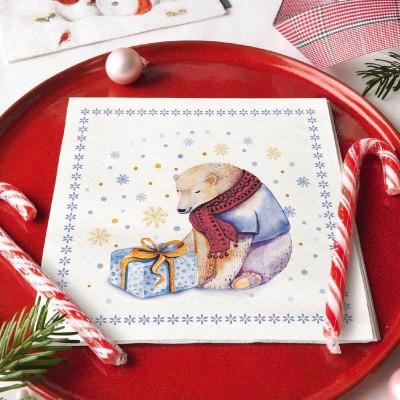 SERWETKI świąteczne Zimowy Miś 33x33cm 20szt