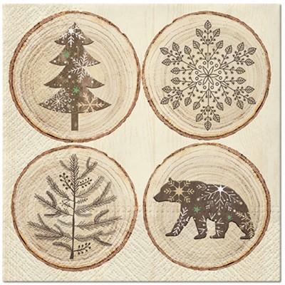SERWETKI świąteczne EKO Plastry Drzewa 33x33cm 20szt