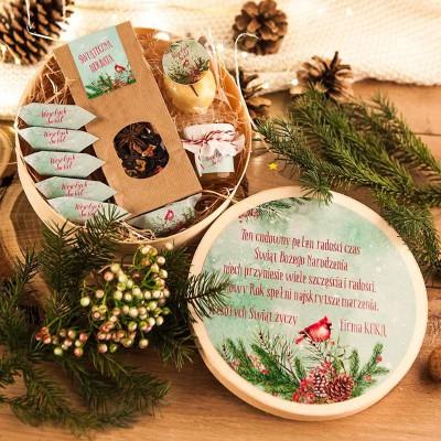 KOSZ prezentowy świąteczny firmowy w pudełku Z NAZWĄ Zimowy Ptaszek