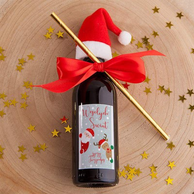 WINO świąteczne Z Czapeczką Z PODPISEM Mikołaj