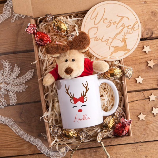 PREZENT świąteczny Z IMIENIEM z kubkiem i maskotką