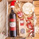 KOSZ prezentowy świąteczny Z PODPISEM Zestaw Czerwony z winem LUX