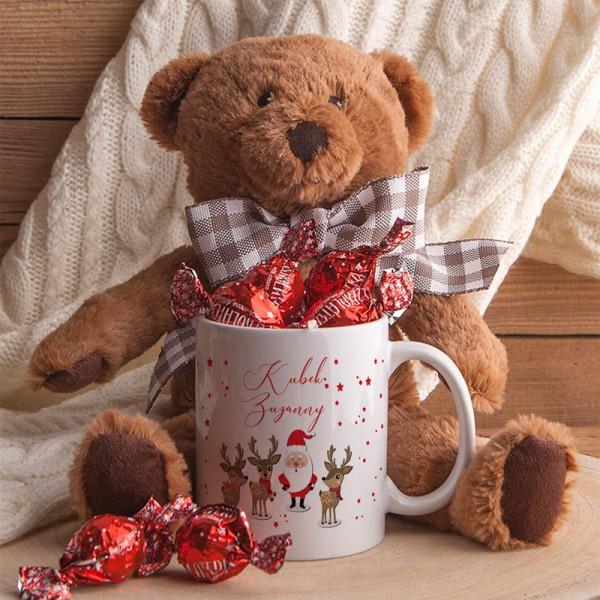 PREZENT świąteczny dla dziecka Maskotka Miś+Kubek Z IMIENIEM Zestaw Czerwony