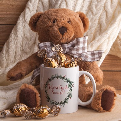 PREZENT świąteczny dla dziecka Maskotka Miś+Kubek Z IMIENIEM Zestaw Brązowy