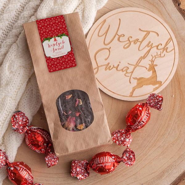 HERBATKA świąteczna na prezent Czerwone Święta Z TWOIM PODPISEM 50g