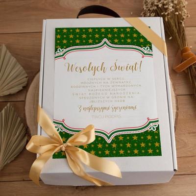 KOSZ prezentowy świąteczny Z PODPISEM Zestaw Zielony z winem LUX