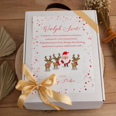 PREZENT świąteczny dla dziecka Z PODPISEM Maskotka i kubek BOX Czerwony