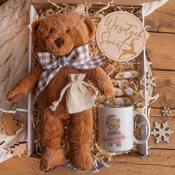 PREZENT świąteczny dla dziecka Z PODPISEM Maskotka i kubek BOX Retro