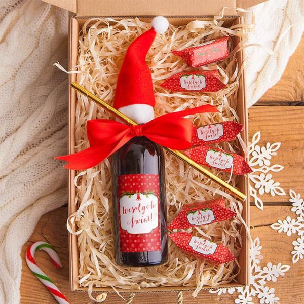 KOSZ prezentowy świąteczny Z PODPISEM Z winem i krówkami Czerwone Święta