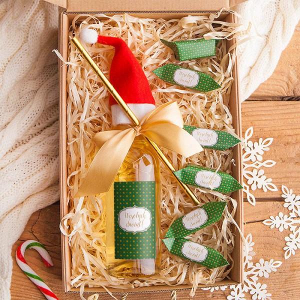 KOSZ prezentowy świąteczny Z PODPISEM Z winem i krówkami Zielone Święta