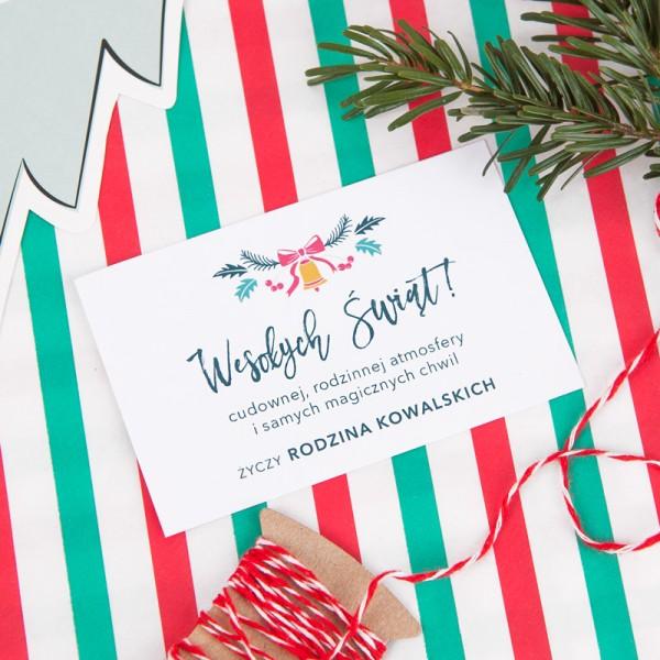 BILECIK personalizowany z życzeniami Merry Christmas