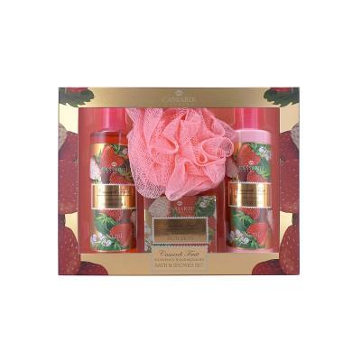 ZESTAW kosmetyków na prezent świąteczny dla kobiety Truskawkowy