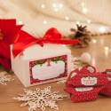 PUDEŁECZKO świąteczne z krówkami na prezent Z PODPISEM Czerwone Święta (+wstążka czerwona)