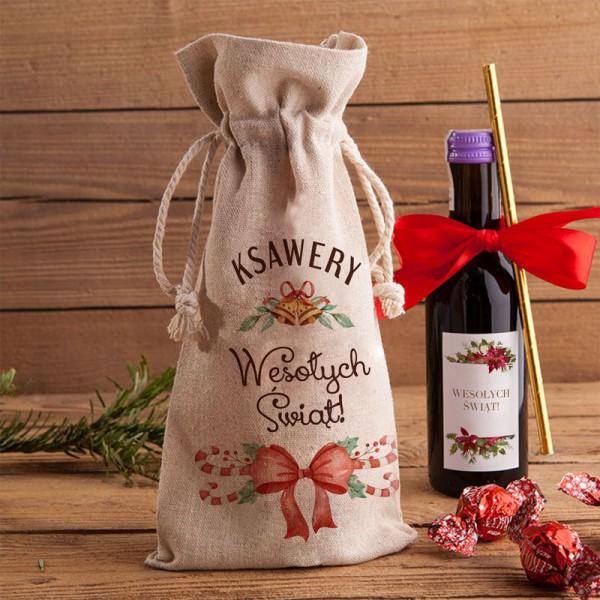 WOREK lniany na wino 200ml Z PODPISEM Christmas Time